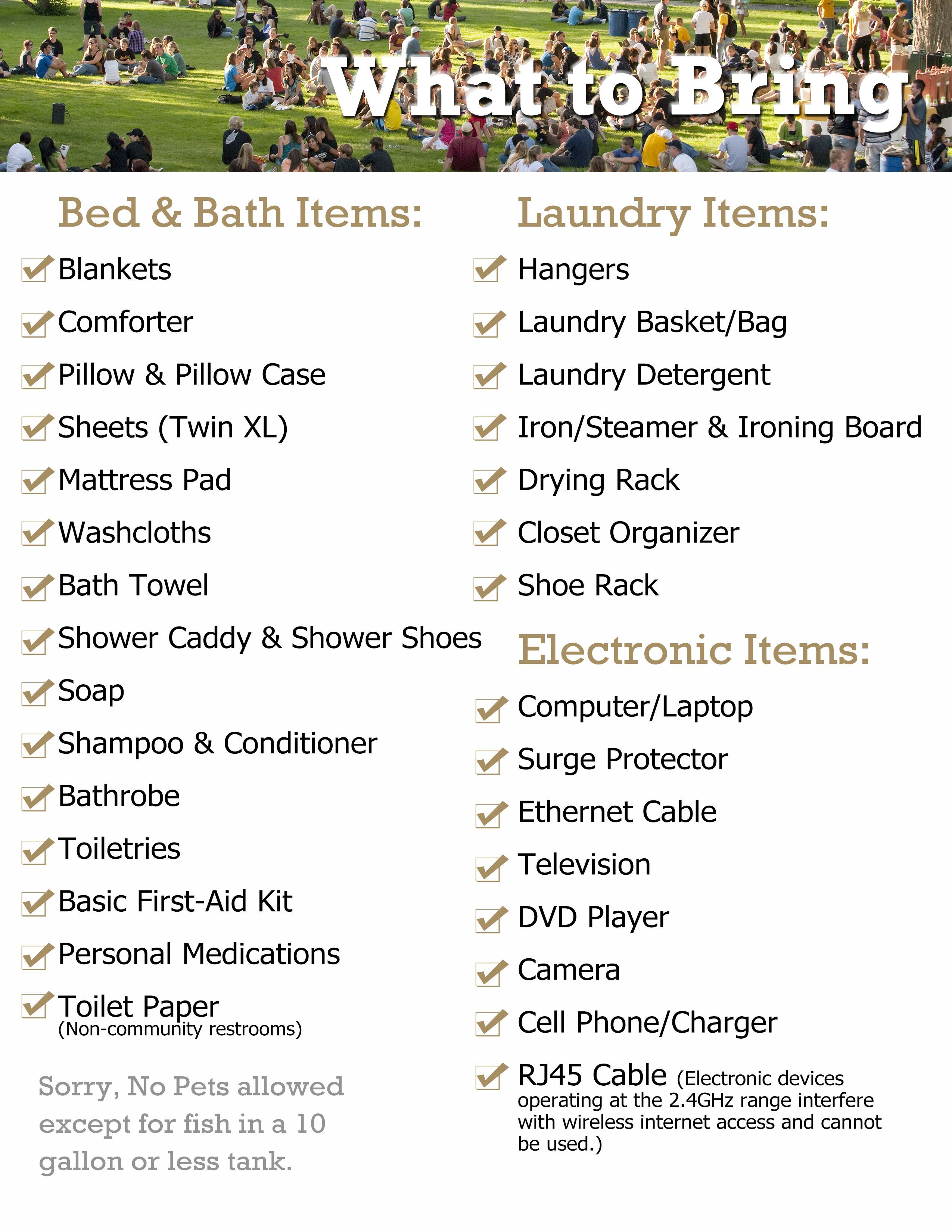 What To Bring List Bed Bath Items Laundry Items And Electronic
