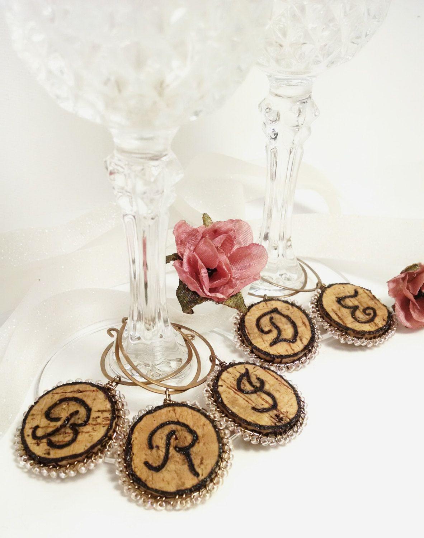 Custom Made Cork Wine Glass Charms, Head Table Decor Idea by ...