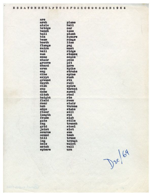 carl andre essay on sculpture for e c goossen art  carl andre essay on sculpture for e c goossen 1964