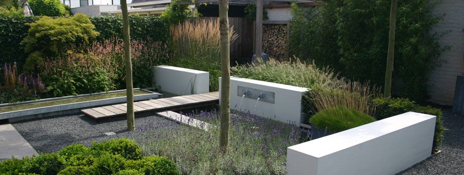 Tuinontwerp witte muren siergras muur tuin alphen foto erik van gelder stijltuinen designtuin - Tuin ontwerp exterieur ontwerp ...