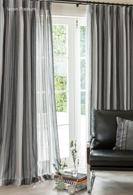 Pinstripe Shear Curtains With Separate Block Out : )