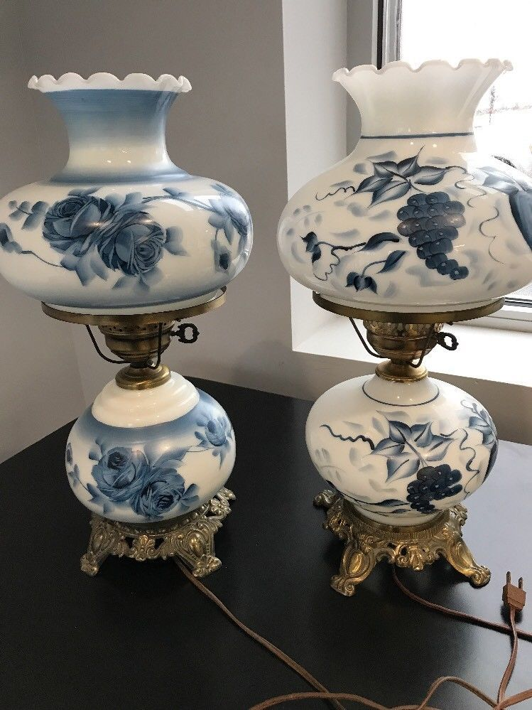 Vintage Hand Painted Cobalt Blue White Hurricane Lamps Pick One Hurricane Lamps Vintage Lamps Antique Lamps