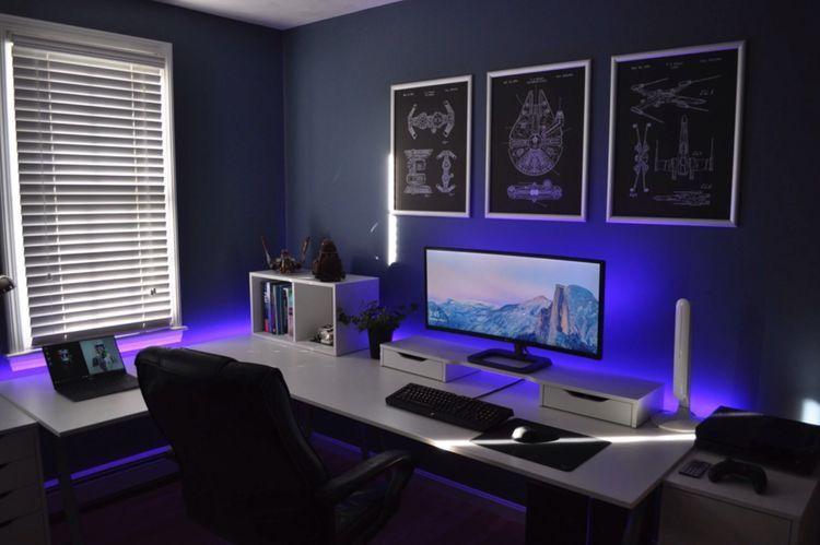 Lit Gaming Setup Gaming Room Setup Gaming Setup Room Setup