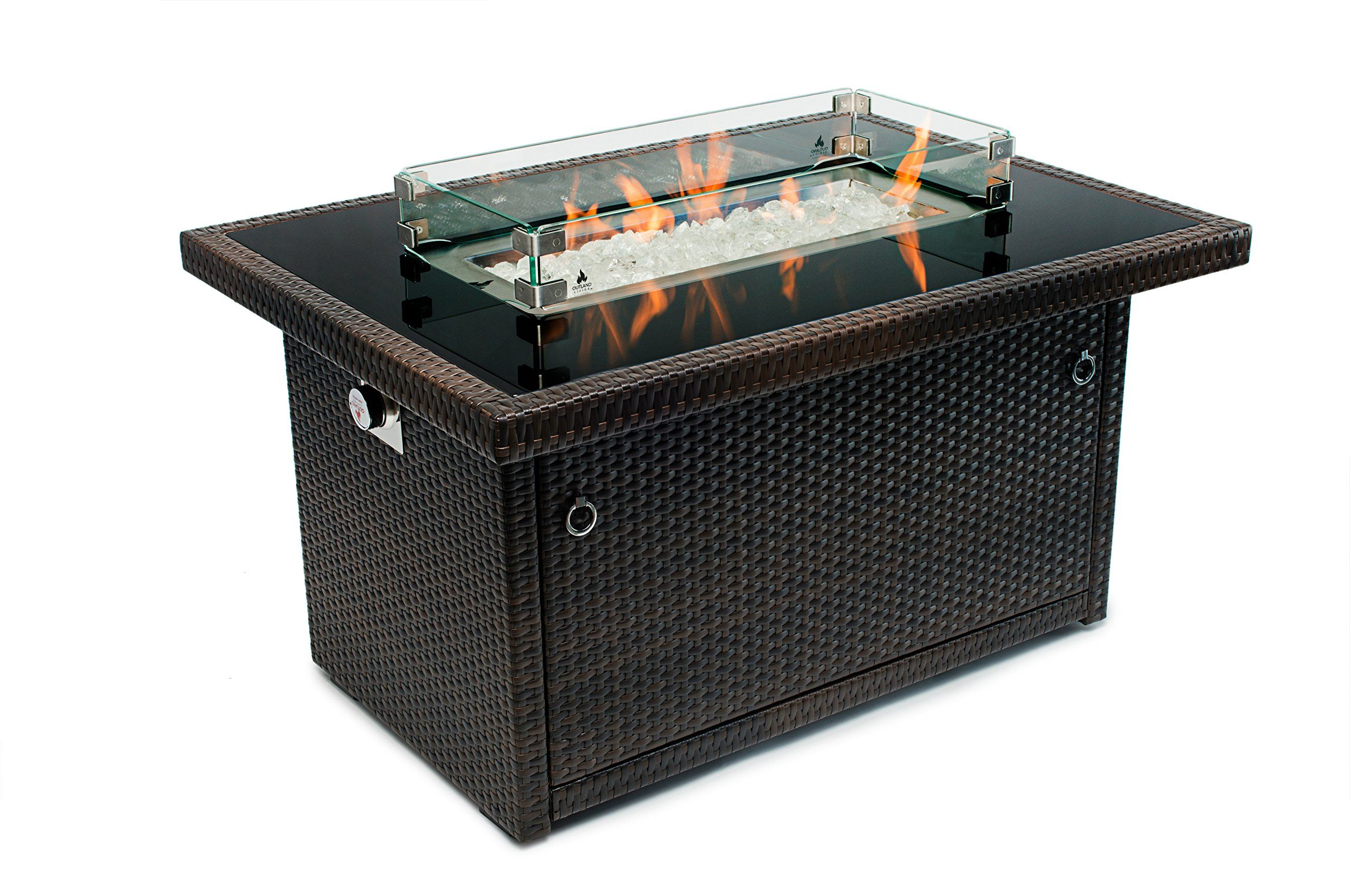 Outland Fire Table 3 Piece Rectangle Accessory Set Of Tempered Glass Lid Insert Tempered Glass Wind Guard Fenc Fire Table Fire Pit Table Propane Fire Pit Table