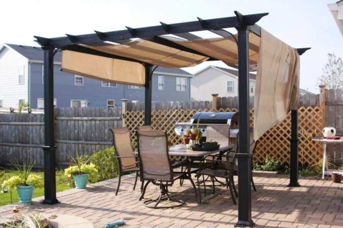 Pergola Canopy With Canvas Material And Dark Iron Combined Paving