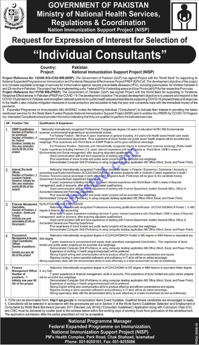Ministry of National Health Services Govt of Pakistan Jobs