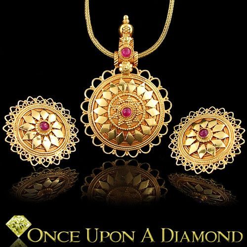 Gold Necklace And Earrings Set 22kt Indian Jewelry With: 22kt Yellow Gold Indian Gold Jewelry Set W Ruby Earrings