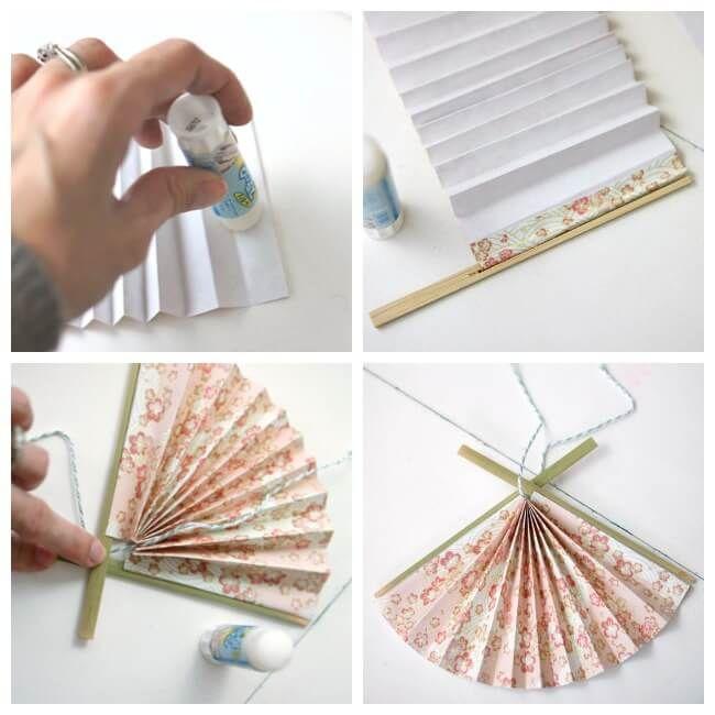 Japanese Paper Fan Ornament | Diy japanese decorations ...