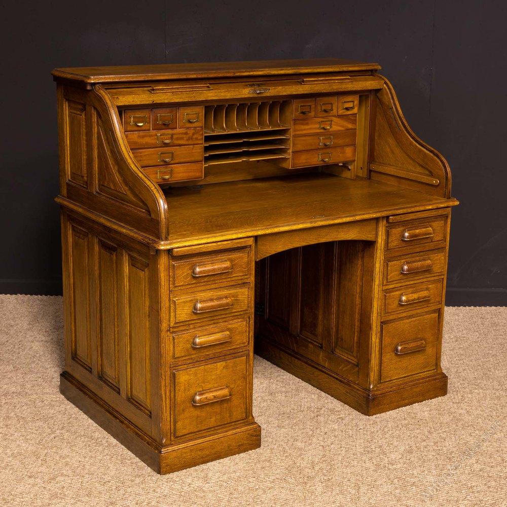 Edwardian Oak Roll Top Desk By H L L Antiques Atlas Antique Desk Desk Roll Top Desk