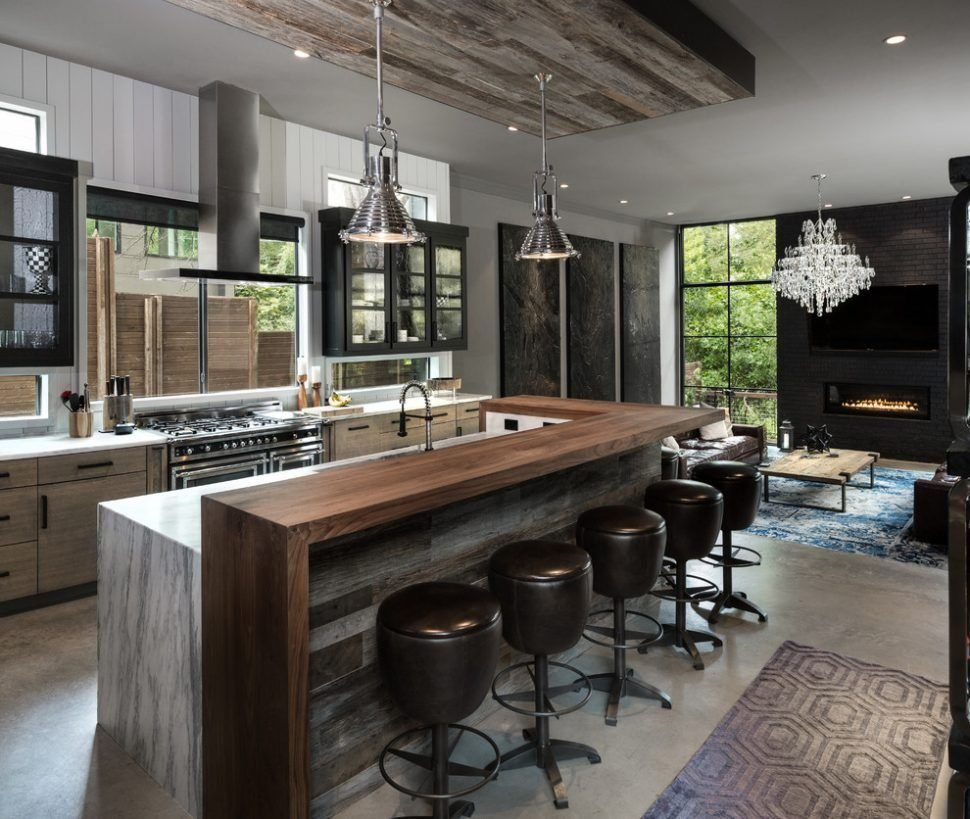 Kitchen Style L Shaped Industrial Look Kitchen With Black Swivel