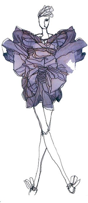 Watercolour fashion illustration - fashion concept sketch; sculptural dress drawing // Laura Smith