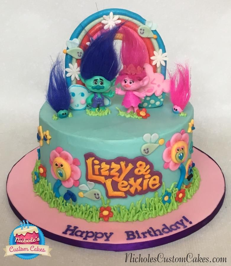 Trolls Poppy and Branch Cake Cake by NicholesCustomCakes