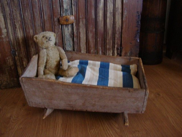 EARLY ANTIQUE PRIMITIVE DOLL CRADLE BED OLD PAINT WOODEN BOX TOY  1800'S AAFA