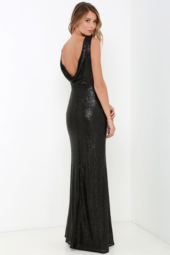 Slink and Wink Matte Black Sequin Maxi Dress | Abendkleider