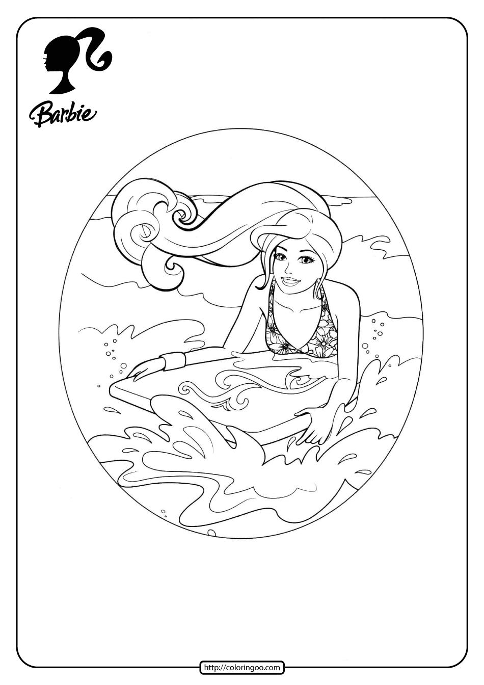 Free Printable Barbie Surfing Pdf Coloring Pages 11 Barbie Coloring Pages Coloring Pages Barbie Coloring