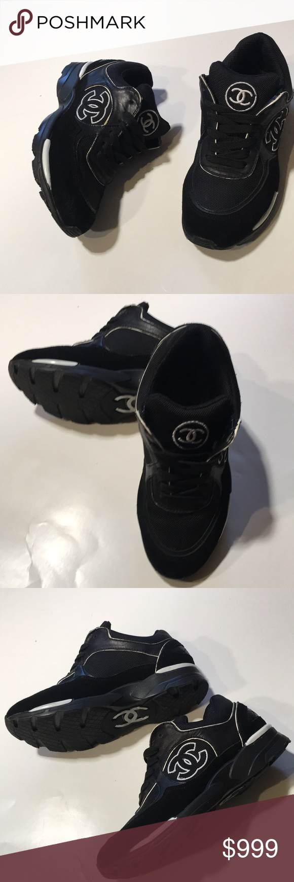 463410bf9a33 Chanel Sneakers Size 37 CHANEL Size 37 Black White IG26582 37 Bold CC logo  Partial
