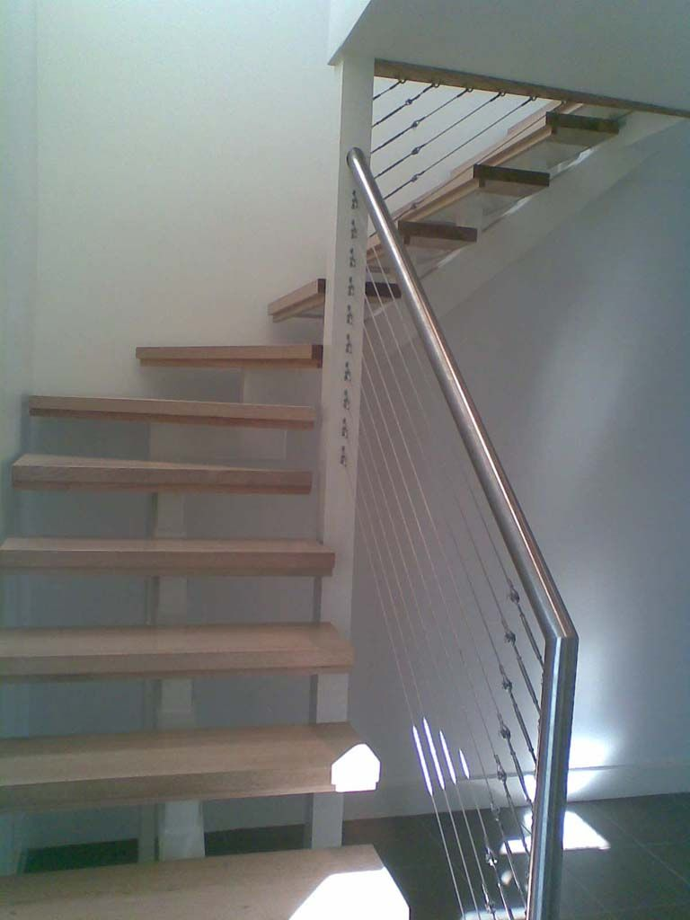 Staircase - Modern, Steel Central Stringer, Stainless Steel & Wire Balustrade | Coastal Staircases