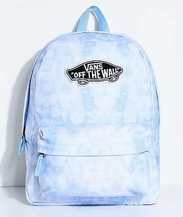 0b9c598b009 Vans Realm Blue Cloud Wash 22L Backpack | B O O K B A G S in 2019 ...