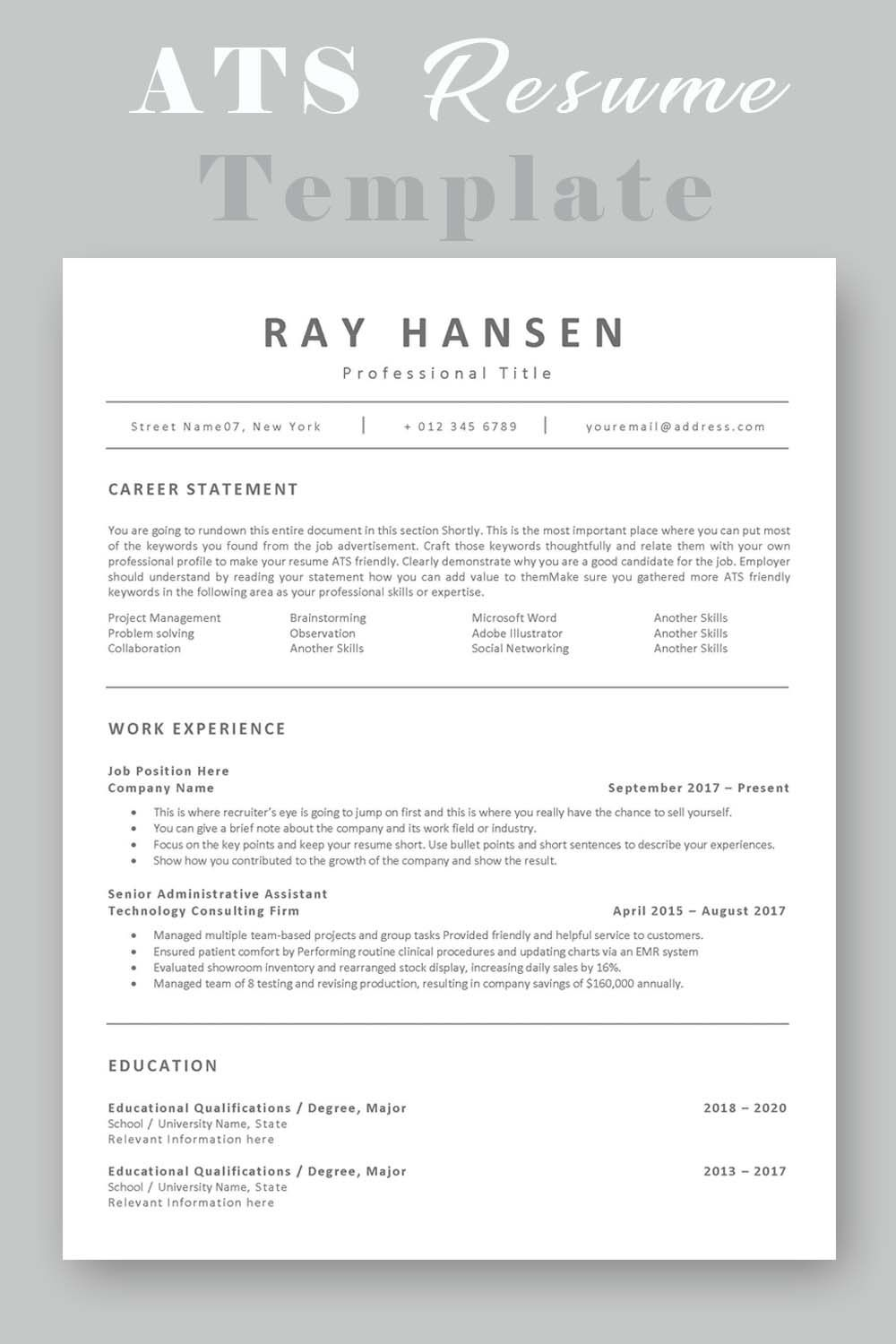 Ats Compatible Resume Template Applicant Tracking System Etsy Resume Template Functional Resume Template Event Planner Resume