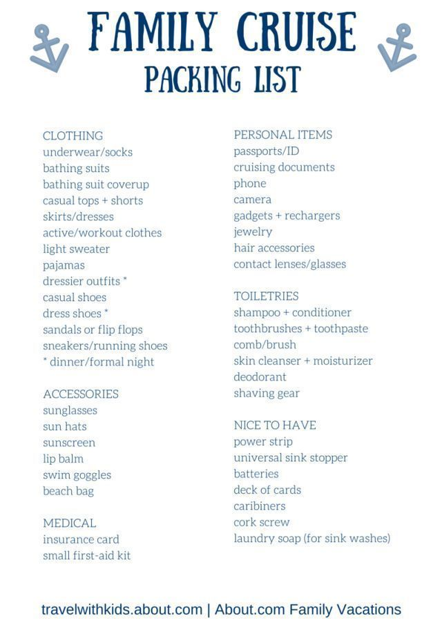 photo about Printable Cruise Packing List called Just about anything (and Even further) Your self Want in the direction of Pack for a Cruise within just 2019