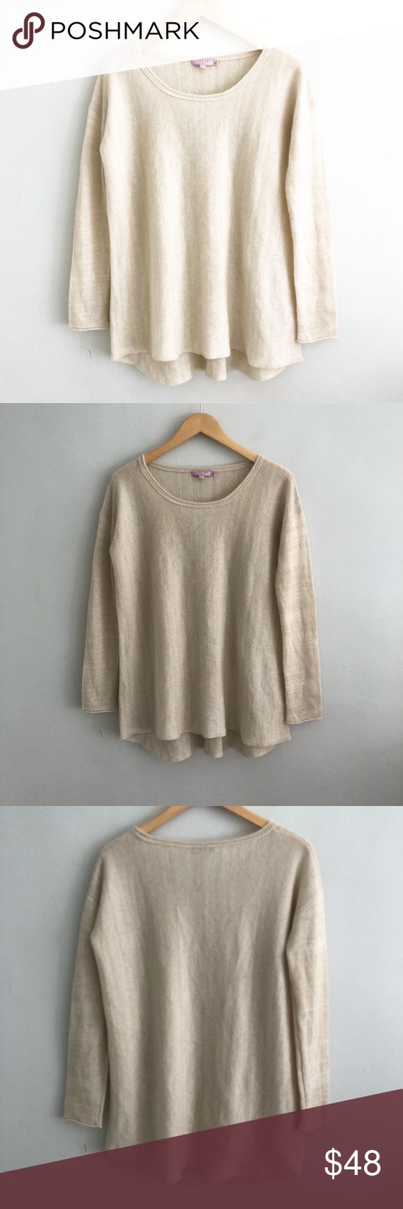94e9feee05f Calypso St Barth Beige Metallic Pullover Sweater Gently pre-loved with no  rips or stains