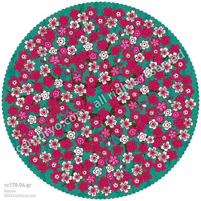Hanami 花見 • freestanding, round and foldable greeting-card for standard envelopes • cc178.04 •  #Karte #rund #Japan #Dekoration #Kirschblüte #Mandala #Papier • www.centuryo.com