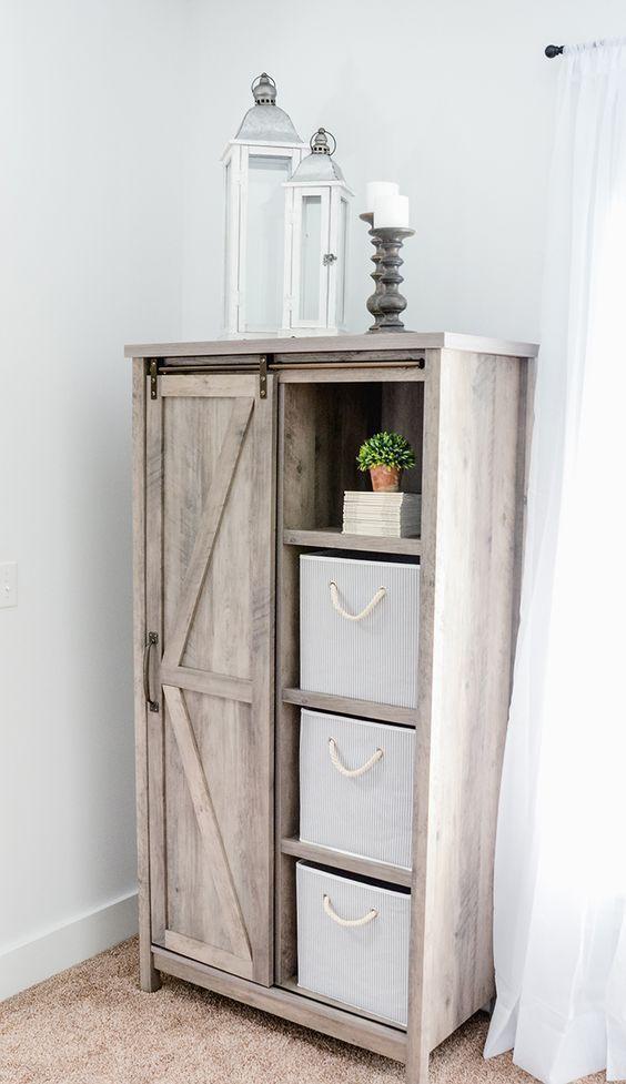 "Better Homes & Gardens 66"" Modern Farmhouse Bookcase Storage Cabinet, Rustic Gray Finish - Walmart.com"