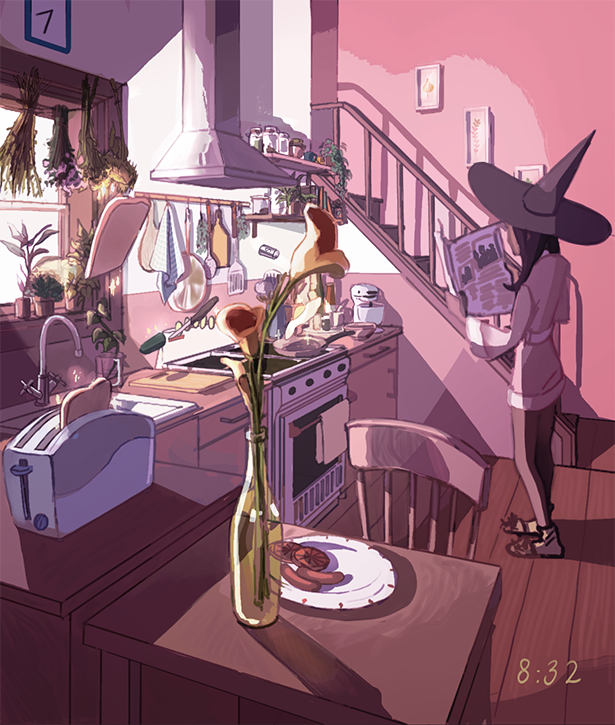 JV ♡ on Anime background, Castle illustration, Anime