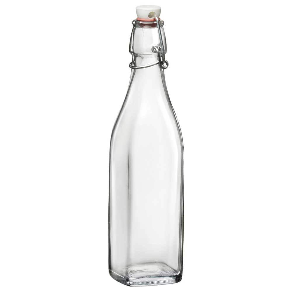 Bormioli Rocco Glass Square Bottles Litro Square Bottle 1litre Clear Bottle Stoppers Bottle Glass