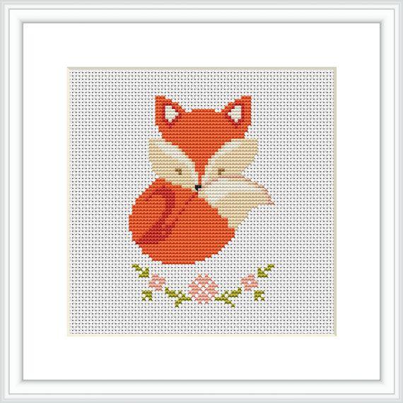 Fox nursery baby cross stitch pattern Sleepy Fox Counted cross ...