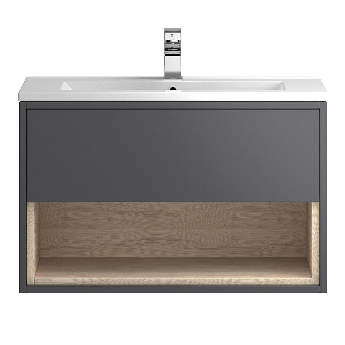 Coast Designer 800mm Grey Gloss Bathroom Vanity Unit Main Image