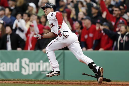 As Fans Background React Boston Red Soxs Jacoby Ellsbury Takes Off After Hitting A Walkoff Two Run Double During Th Red Sox Boston Red Sox Cleveland Indians