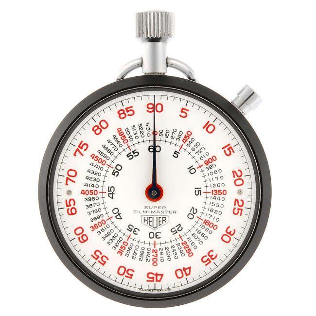 LOT:184 | An open face Super Film-Master stopwatch by Heuer.