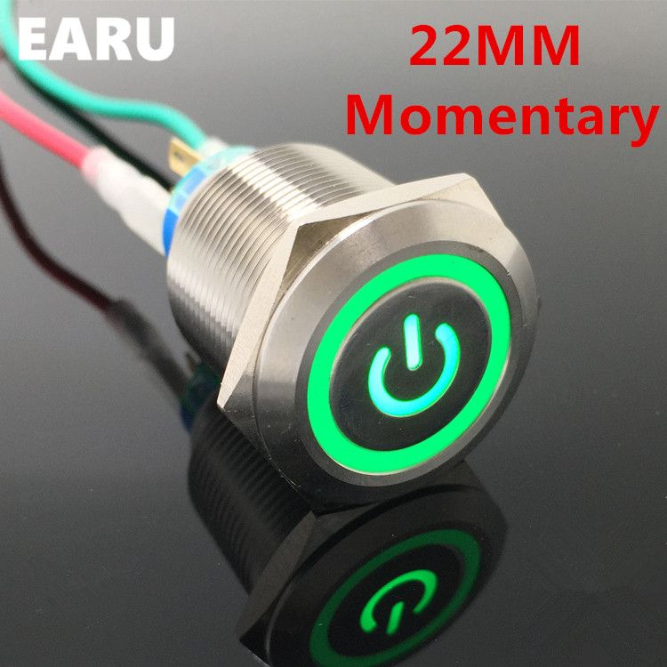 22mm Waterproof Momentary Stainless Steel Metal Lamp Led Horn Power Push Button Switch Car Auto Engine St Metal Lamp Stainless Steel Metal Electrical Equipment