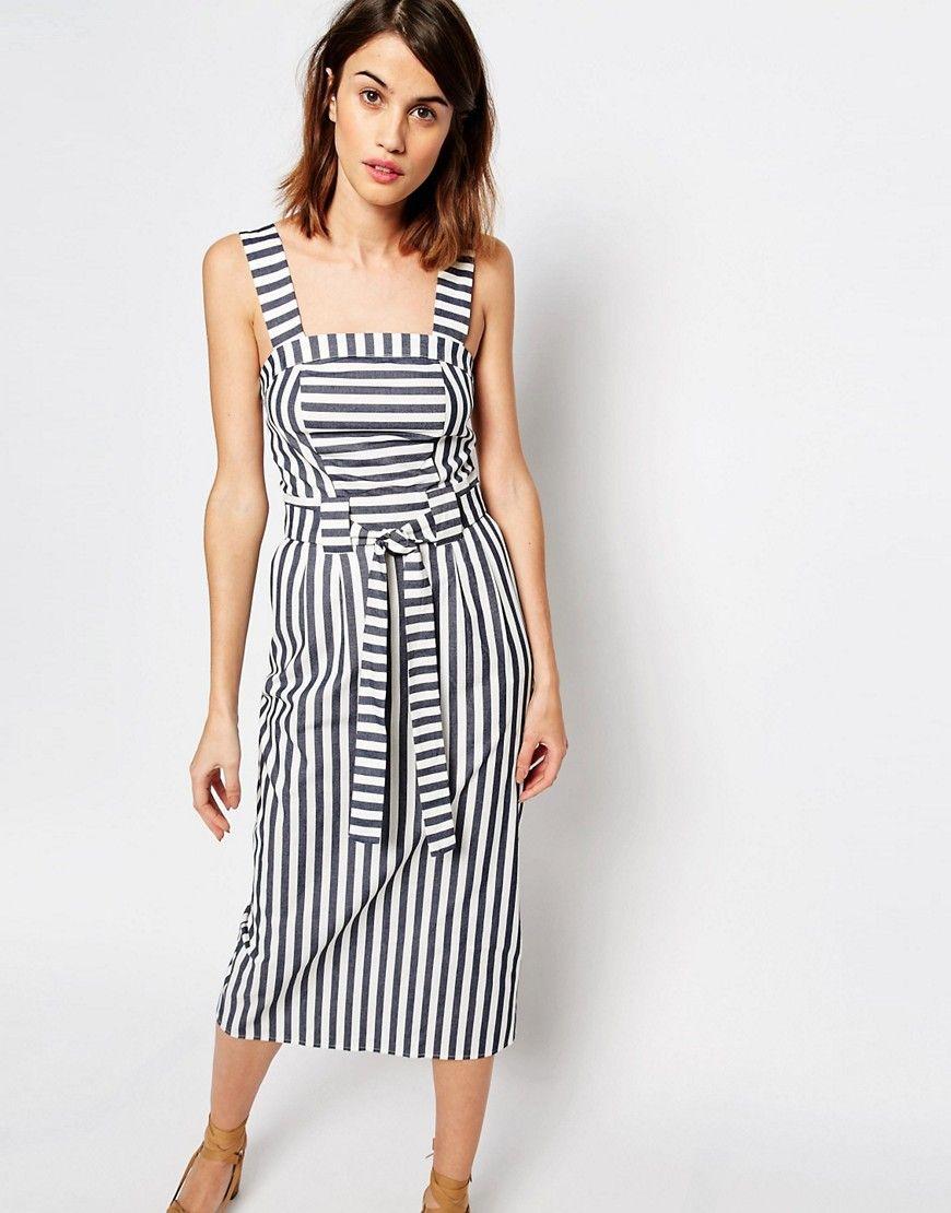 Image 1 of Warehouse Stripe Belted Midi Dress
