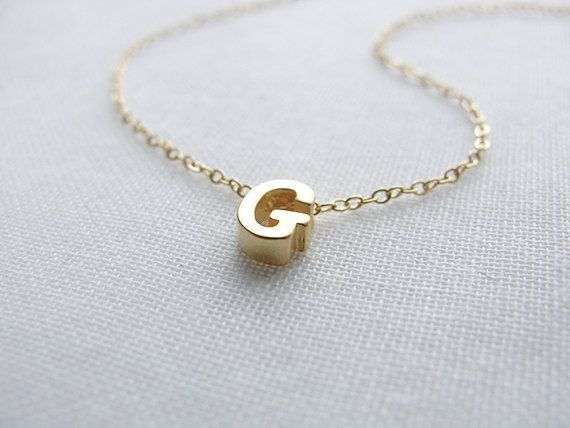 Tiny Gold Letter Necklace - gold initial necklace - 1101 by OliveYewJewels on Etsy https://www.etsy.com/listing/109385852/tiny-gold-letter-necklace-gold-initial