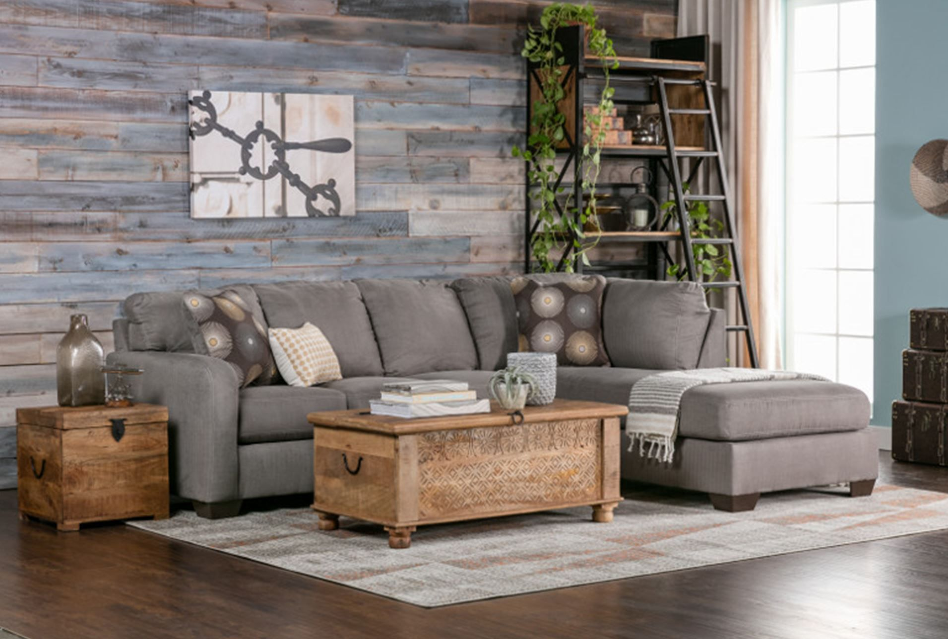 Zella Charcoal 2 Piece Sectional W Raf Chaise 360 Home