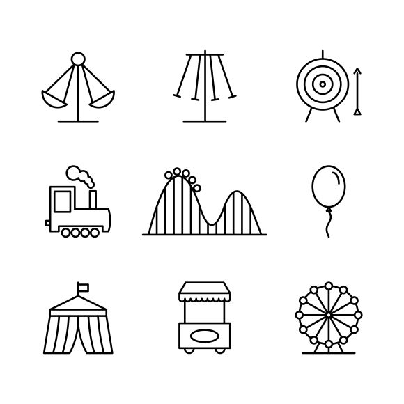 Amusement park icons by Microvector on Creative Market