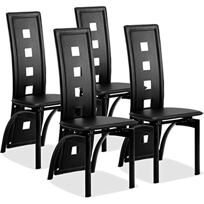 Giantex Set Of 4 Dining Chairs Heavy Duty Iron Frame Ergonomic