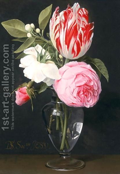 Daniel Seghers:Flowers in a glass vase
