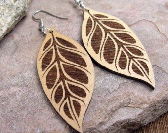 Etched Leaf Earrings- 3 sizes available- Ecofriendly Wood Jewelry