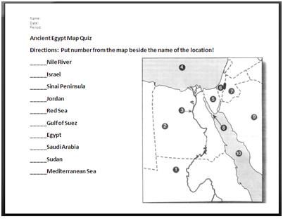 Ancient Egypt Map Quiz and Answers | Social Studies Education ...