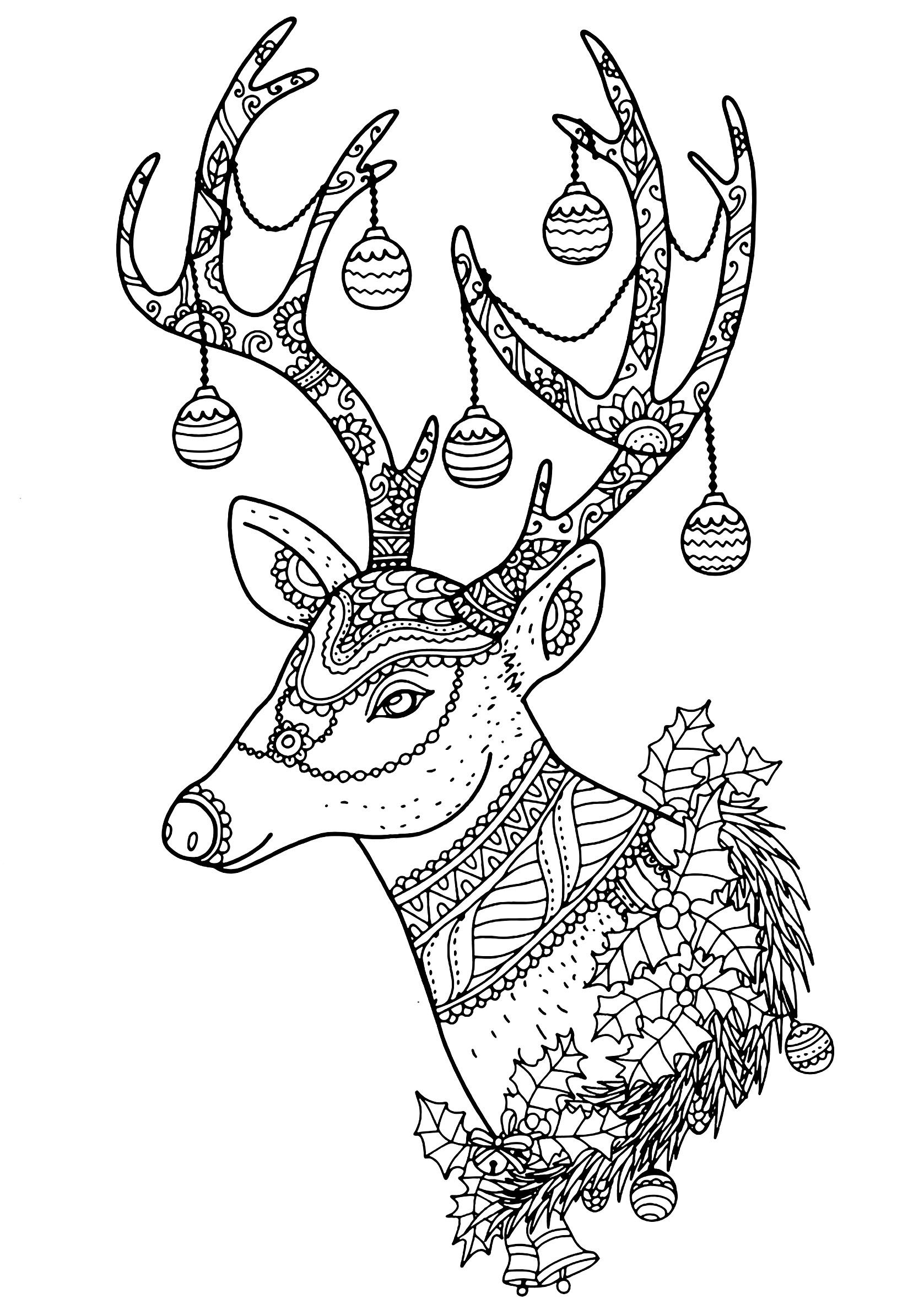 Pin By Chantal Lemire On Dessins Hiver Noel Deer Coloring Pages Printable Christmas Coloring Pages Mandala Coloring Pages