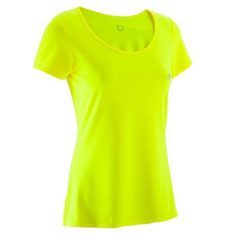 02cdd9f85686b T-shirt ENERGY fitness femme jaune fluo DOMYOS | Mode | Vetements t ...