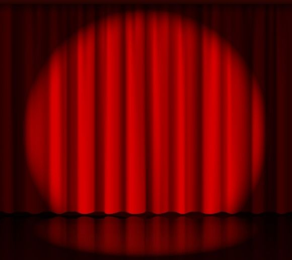 Theater Lights Background: Spotlight On Stage Curtain By Microvector On