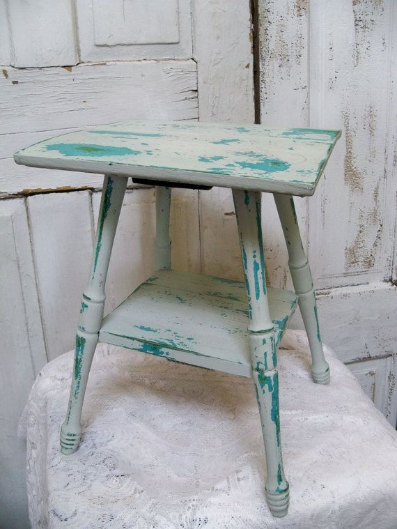 Aqua Blue Beach Cottage Small Accent Table Distressed Shabby