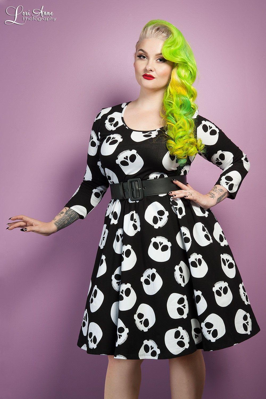 Deadly Dames Hotrod Honey Swing Dress In Skull Print