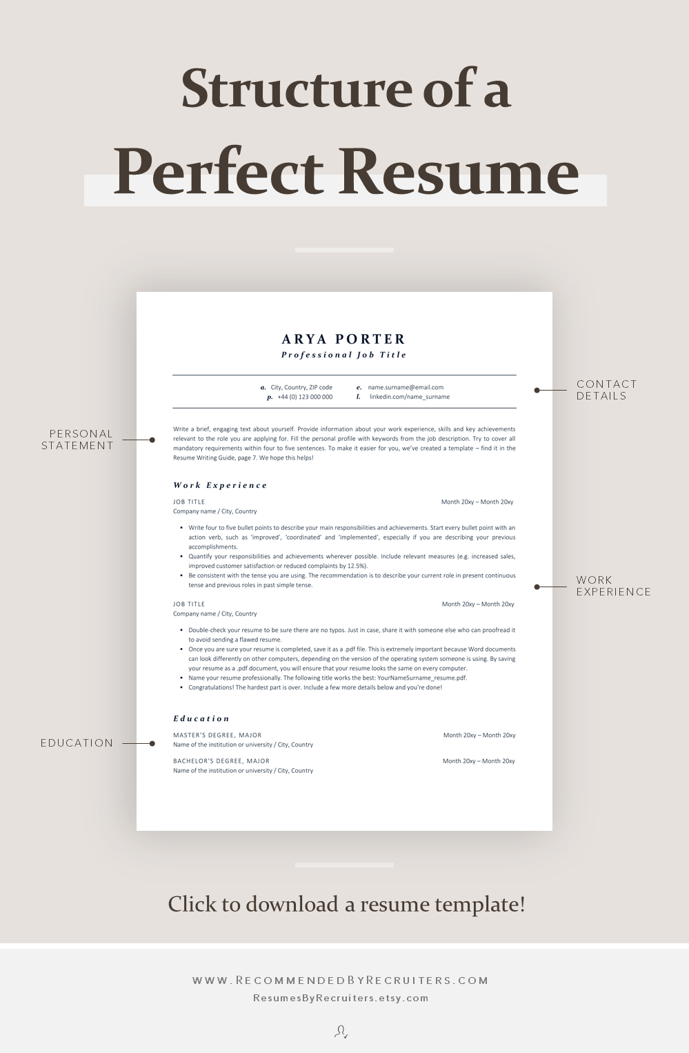 Ats Resume Template For Corporate Jobs Instant Download Etsy Resume Template Perfect Resume Modern Resume Template