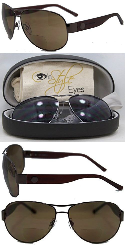 f4f08b29304 In Style Eyes Stylin C Moore Aviator Nearly Invisible Line Bifocal  Sunglasses Brown 2.50 Strength