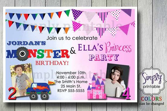 Joint birthday invitation for boy and girl birthdays joint hey i found this really awesome etsy listing at httpetsylisting123315537joint birthday invitation for boy and filmwisefo